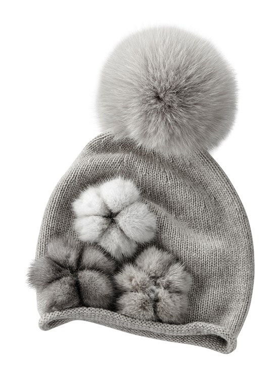 mink flower pom knit hat