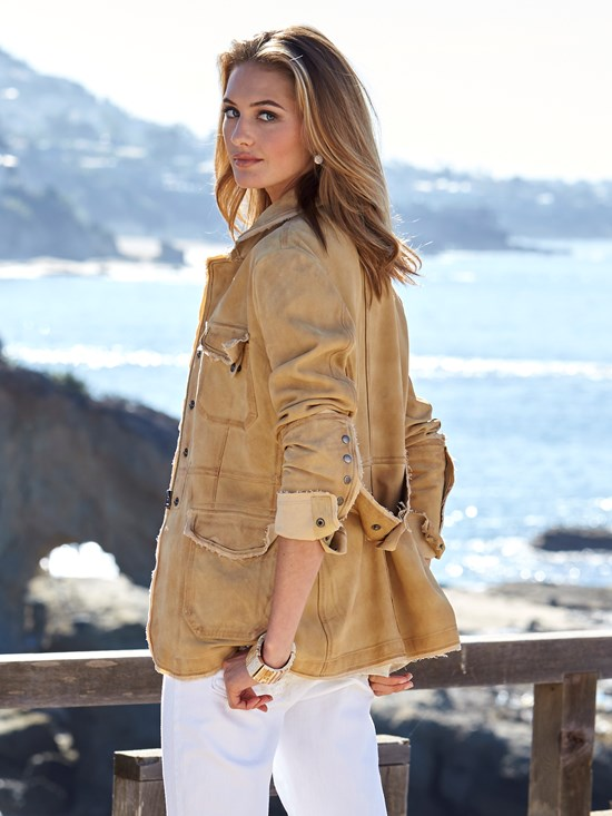 Meryl waxed suede leather jacket