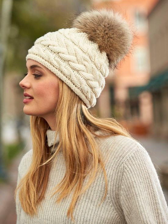 cable cashmere knit hat