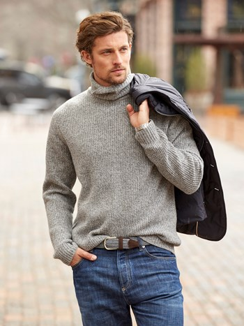 noah marl mix cashmere turtleneck sweater