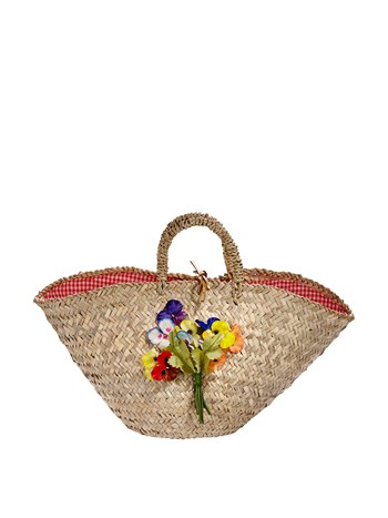 multi pansies straw bag