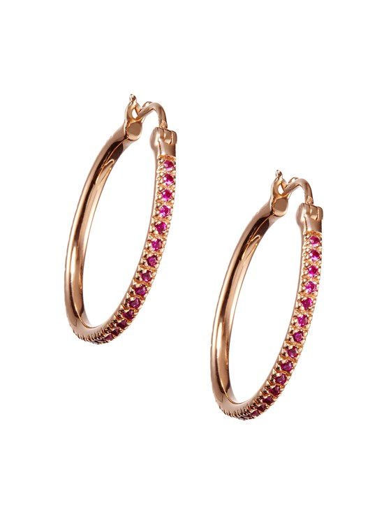 medium pave ruby hoop earring