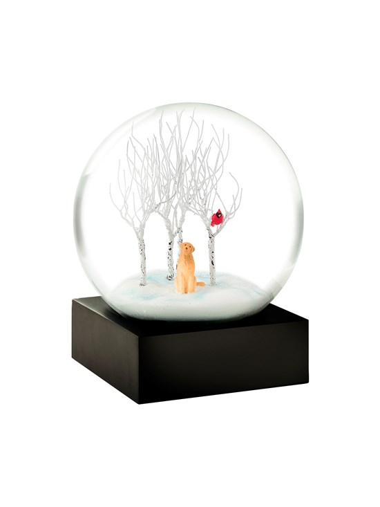 lab in woods snow globe