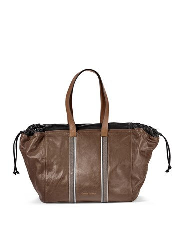 drawstring leather monili tote