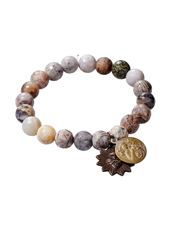 flower agate faceted bracelet
