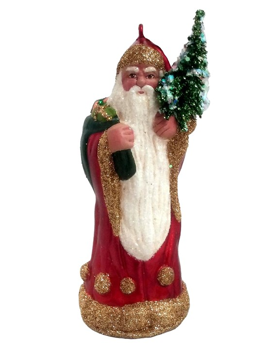 red and gold santa ornament