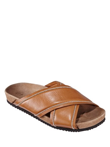 leather criss cross flat