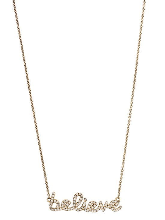small believe yellow gold necklace