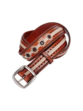 carrie leather embroidered belt