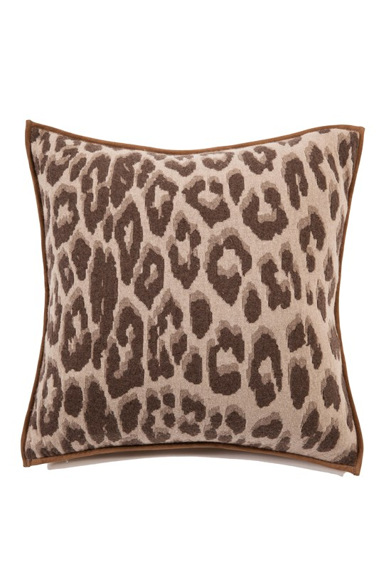 leopard cashmere wool pillow