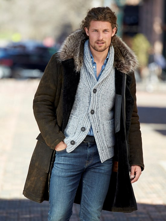 lech antiqued shearling coat