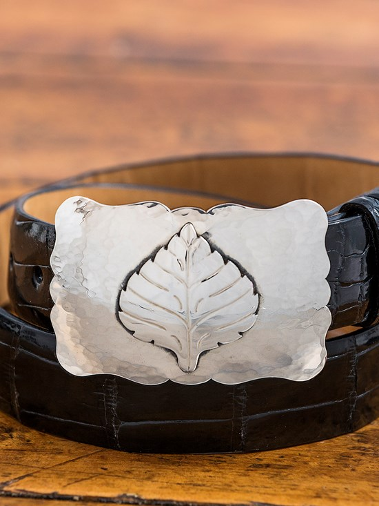 large hammered scalloped aspen leaf buckle