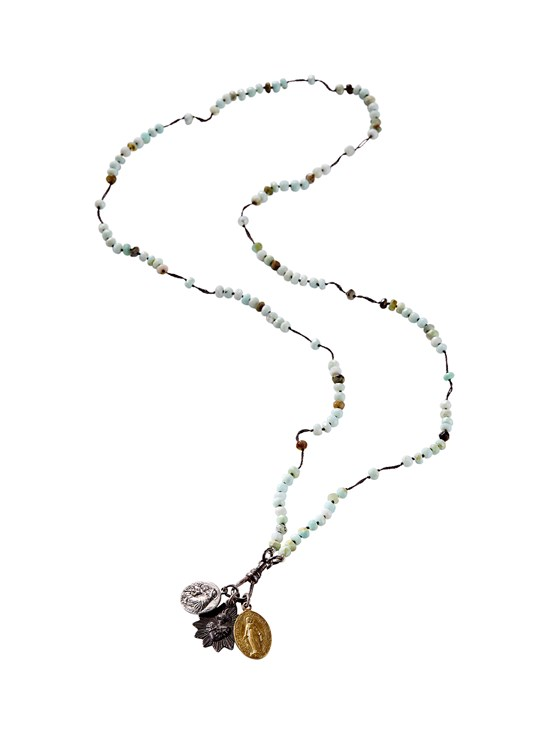 peruvian opal rosary necklace