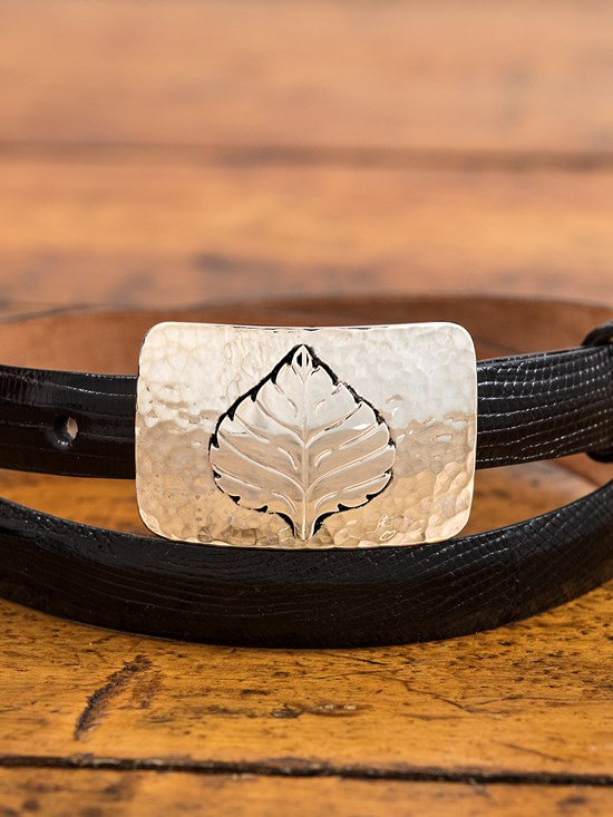 small hammered aspen leaf buckle