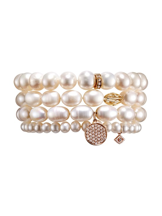pearl pave diamond disc bracelet