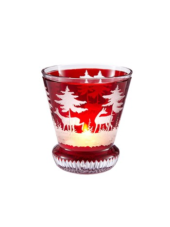 small engraved  crystal stag votive