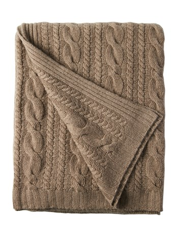 cashmere cable throw