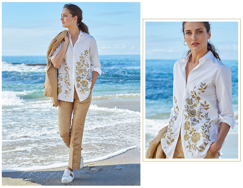cheri bamboo jacquard jacket and cheer sequin shirt
