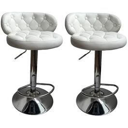 "2 Pack 24-32"" Curved White Leather/Match Bar Stools thumb"
