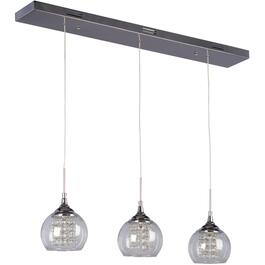 Rihanna 3 Light Polished Chrome Pendant Light Fixture with Clear Glass and Crystal Drops thumb