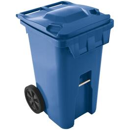"240L Blue American Grip Curbside Garbage Can, with 10"" Wheels thumb"