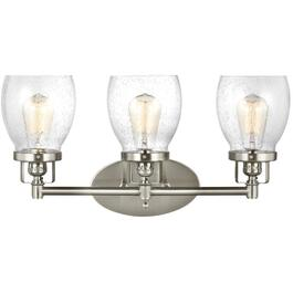 Belton 3 Light Brushed Nickel Vanity Light Fixture, with Seeded Glass thumb