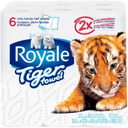 6 Rolls 63 Sheet 2 Ply Tiger Paper Towels thumb