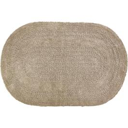 "18"" x 28"" Serene Taupe Oval Cotton Bath Mat thumb"