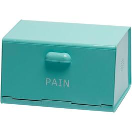 Turquoise Enamel French Wording Bread Box thumb