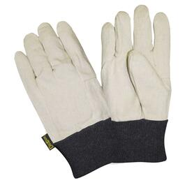 Men's One Size White 10oz Cotton Work Gloves, with Knit Wrist thumb
