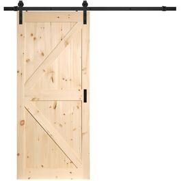 "36"" x 84"" K-Frame Unfinished Sliding Pine Barn Door, with Hardware thumb"