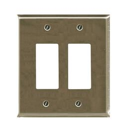 2 Device Brushed Nickel Switch Plate thumb