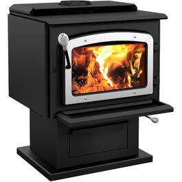 Escape 1800 EPA Pedestal Wood Stove, with Brushed Nickel Door thumb