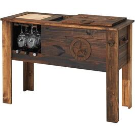 Texas Rustic Wooden Patio Cooler, with Wine Rack thumb