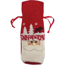 Christmas Fabric Gift Bag, for Wine Bottle, Assorted Styles thumb