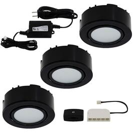 Black 3 Light Mini Puck LED Light Fixture thumb
