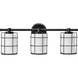 Albany 3 Light Black Vanity Light Fixture with White Glass Shades thumb