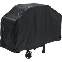"56"" x 21"" x 40"" Black PEVA Barbecue Cover, with Polyester Backing thumb"