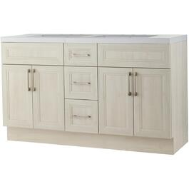"60"" x 21"" Cashmere Antique White Wash 4 Door 3 Drawer Double Sink Vanity with Acrylic Top thumb"