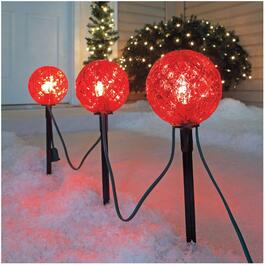 "3 Piece 11.5"" Red Ball Pathway Markers, with Lights thumb"