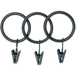 "14 Pack Black Curtain Rings, Fits 1"" and 1-1/4"" Rods thumb"