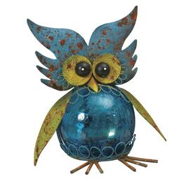 "8"" Solar Crackle Glass Owl Garden Statue, Assorted Styles thumb"