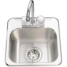 "13"" x 13"" x 6"" 2 Hole Stainless Steel Bar Sink, with Ledge thumb"