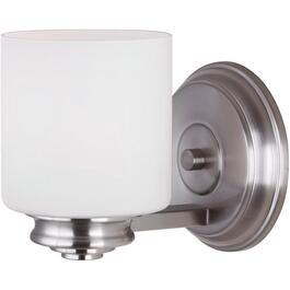 Crawford 1 Light Brushed Nickel Wall Light Fixture with Flat Opal Glass thumb