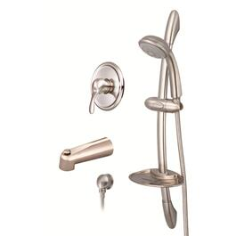Brushed Nickel Single Lever Pressure Balanced Tub and Shower Faucet with Hand Shower and Slide Bar thumb