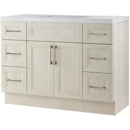"48"" x 21"" Cashmere Antique White Wash 2 Door 6 Drawer Vanity with Acrylic Top thumb"