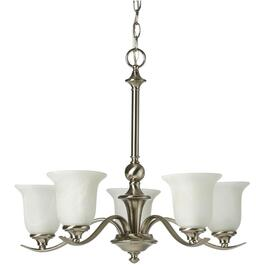 Concord 5 Light Brushed Nickel Chandelier with Marbled Glass thumb