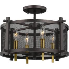Palmyra 4 Light Oil Rubbed Bronze/Bright Brass Semi-Flush Light Fixture thumb