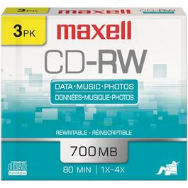 3 Pack 700MB CD-RW Rewritable Discs thumb