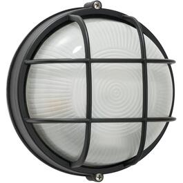 "8"" Round Black Outdoor Wall Light Fixture with Frosted Glass thumb"